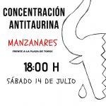 La Asociación Cultural Antitaurina convoca una concentración para este sábado en Manzanares