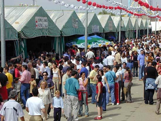 Casetas de la Feria de Puertollano, en los años 90.