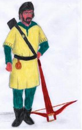 Dibujo de un Cuadrillero de la Santa Hermandad de Ciudad Real en el siglo XIV