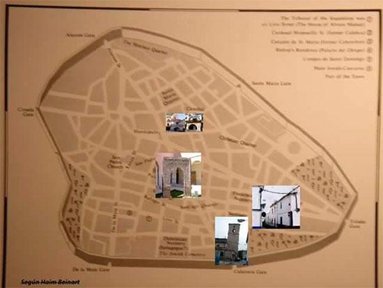 Plano de la Ciudad Real del siglo XV elaborado por Haim Beinart, mostrando restos actuales del pasado judaico en la ciudad