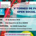 Abierto el plazo de inscripción para el V Torneo de Padel-Open social del Colegio Oficial de Ingenieros Industriales
