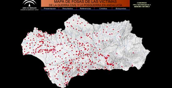 Mapa de fosas en Andalucía. Fuente Todos los Nombres