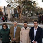 Ciudad Real: Francisco Ortega finaliza su obra de Don Quijote y Sancho en el olmo de la entrada del Parque de Gasset