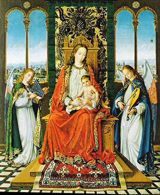 Virgen entronizada con ángeles músicos. Tabla en alabastro y óleo con dosel de oro bruñido, 50 x 40 cm., 1985.