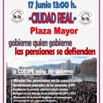 Comunicado: Nueva concentración en defensa de las pensiones el próximo lunes 17 a las 13 horas