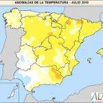 Julio de 2019 fue el séptimo julio más caluroso desde 1965 en España, con una temperatura media de 25,2ºC