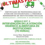 Nueva acción formativa sobre intervención higiénico-alimentaria, perteneciente al certificado de profesionalidad de atención sociosanitaria a personas dependientes en instituciones sociales
