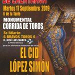 El Cid, López Simón y Antonio Linares, cartel de la corrida de feria de Bolaños de Calatrava