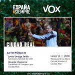 Ortega Smith participará este lunes en un acto público de VOX en Ciudad Real