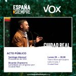 Santiago Abascal participará en un acto de VOX en Ciudad Real el próximo lunes